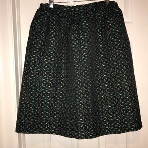 Dresses & Skirts - A-line metallic gold teal midi skirt w pockets